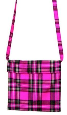 Tasche: Schottentasche zum Umhängen, Klettverschluss, pink - 1