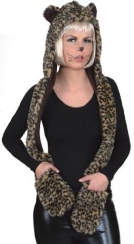 Tierkostüm: Leopardenmütze mit Handschuhen, Einheitsgröße - 1