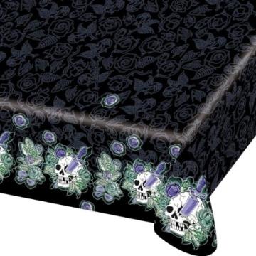 tischdecke tischtuch kunststoff motiv gruselige totenkopf party 120 x 180 cm party deko. Black Bedroom Furniture Sets. Home Design Ideas