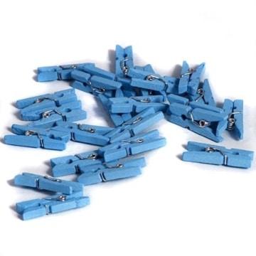 Tischdeko: Mini-Wäscheklammern, blau, 25 Stück - 1