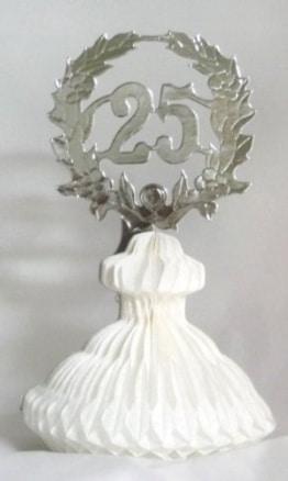 Tischdekoration: Zahl 25, silber, weiß - 1