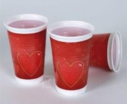 Trinkbecher: 10er-Pack, rot, Herzen-Motiv - 1