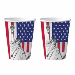 Trinkbecher: Pappbecher, Amerika Design, 200 Ml, 10er Pack   1