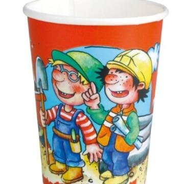 Trinkbecher: Pappbecher, Bauarbeiter, 250 ml, 8er-Pack - 1