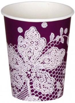 Trinkbecher: Pappbecher, Spitzenborte, violett-weiß, 250 ml, 8er-Pack - 1