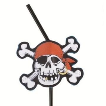 Trinkhalme: Flex-Strohhalme, Jolly Roger, 24 cm, 8er-Pack - 1
