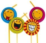 Trinkhalme SMILEY, 8er-Pack Dekoration Smileys Partyspass - 1