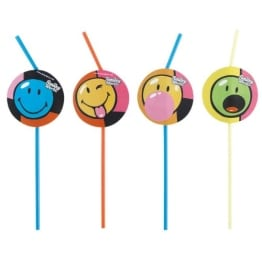 "Trinkhalme: Strohhalme, ""Smiley World"" Comic, 24 cm, 8er-Pack - 1"