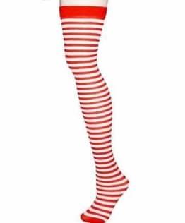 Überkniestrümpfe, rot-weiß geringelt, 1 Paar - 1