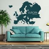 Wandtattoo Europa Kontinent Wanddekoration Naturvielfalt Wanddesign Wand Tattoo Dekoration Design ca. 60 x 44 cm grau - 1