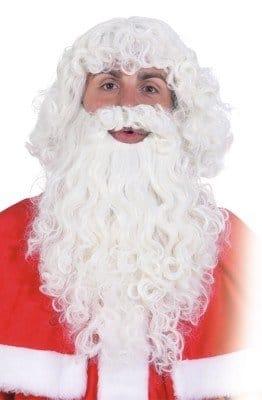 Weihnachtsmann-Set: Haare und Bart, weiß, stark gelockt - 1