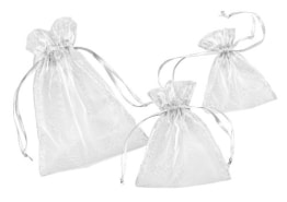 Weiße Organza-Säckchen, 13 x 10 cm, 12er-Pack - 1