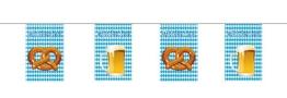 Wimpel: Wimpelkette, weiß-blaue Rauten, Bierkrug und Brezel, 15 Fähnchen, 10 m - 1
