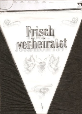 """Wimpelkette: 15 Wimpel an Kette, """"Frisch verheiratet"""", 10 m lang - 1"""