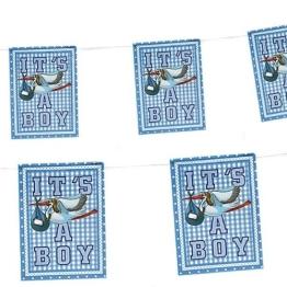 Wimpelkette: 20 kleine Wimpel mit Storch, hellblau, 4 m - 1