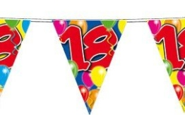 Wimpelkette: Girlande mit 15 Wimpeln, 18. Geburtstag, 10 m - 1