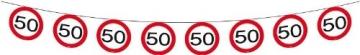 Wimpelkette: Kette mit 15 Verkehrsschildern (50. Geburtstag), 6 m - 1