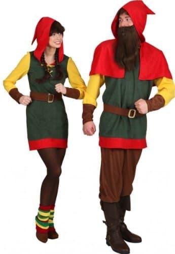 Zwergin-Kostüm: Kleid, Kapuze und Gürtel, grün, rot, gelb, verschiedene Größen - 2